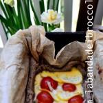 Quiche di primavera di grano saraceno, zucchina gialla e pomodori IGP di Pachino a grappolo