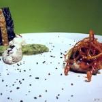 Papillotte di persico, verdure e zeist di agrumi con crema di avocado e menta, quenelles di persico e cialda al nero di seppia feat. Federico Stefanini