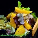 Insalata di faraona e arance con finta maionese ai pistacchi e crackers di riso