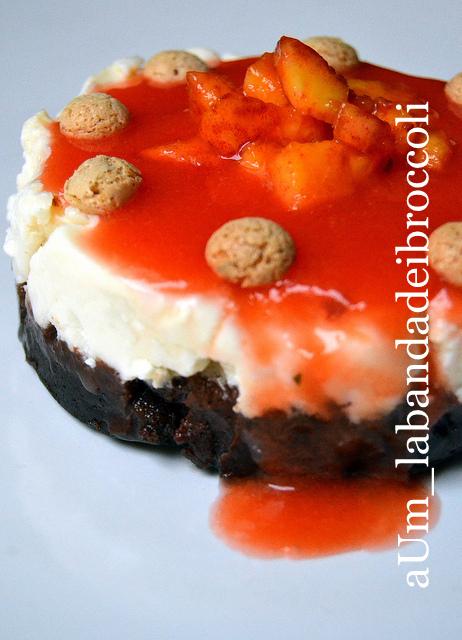 Cheesecake cioccolato ricotta e pesche,una deliziosa pausa